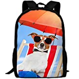 ZQBAAD Dog Sunglasses Summer Umbrella Happy Funny Luxury Print Men And Women's Travel Knapsack