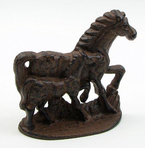 (IWGAC 0184S-0103 Cast Iron Two Horse Door Stop)