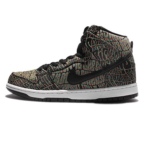 Nike Men's Dunk High Premium SB Black/Black Rainbow White Size 10.5
