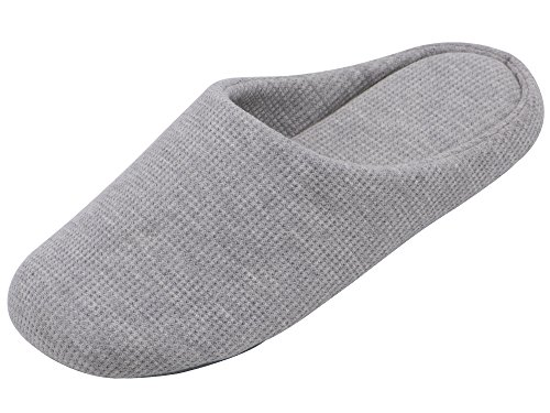 UltraIdeas Comfort Knitted Cotton Slippers for Men and Women Washable Flat Closed Toe Ultra Lightweight Indoor Shoes with Non-Slip Sole (M /7-8 B(M) US, Beige)