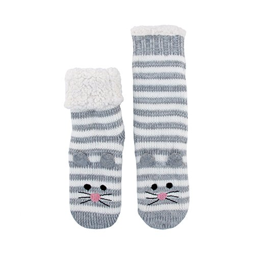 Extra Thick Fuzzy Thermal Cabin Fleece-lined Knitted Non-skid Crew Sock, Mouse - 1 Pair (Plus Size Lined Stockings)