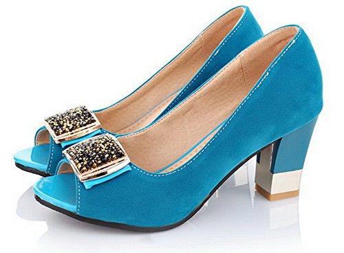 AalarDom TSFLG005202 Haut Femme Bleu Talon Suédé Sandales Couleur Ouverture Unie à Petite Tire rrwqHZa