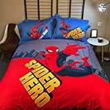 CASA 100% Cotton Kids Bedding Set Boys Spiderman Duvet cover and Pillow cases and Flat sheet,4 Pieces,King,Woody and Buzz Lightyear