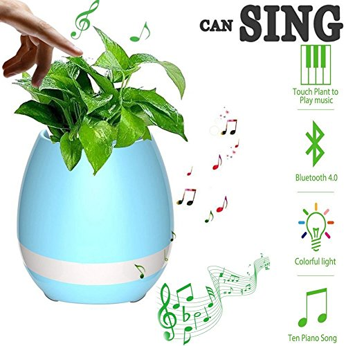 Burgundy Desktop Accessories (SUPERIORFE Smart Magic Music Flowerpot with Bluetooth Speaker and LED Light, Best Plant Vase Gift(without Plant) (Blue))