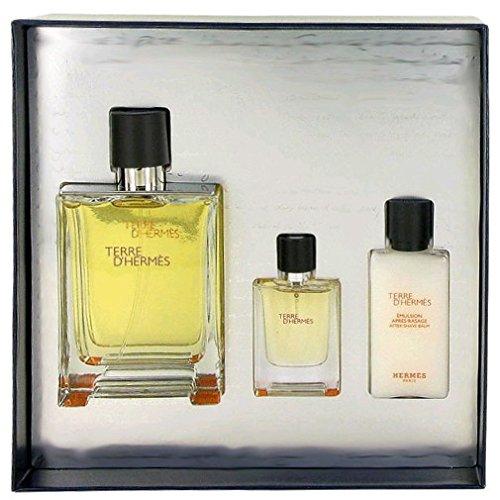 TERRE D'HERMES by Hermes Gift Set for MEN: Eau De Toilette 3.4 Oz + After Shave Balm 1.35 Oz + Eau De Toilette Spray 0.42 oz (Terre D Hermes After Shave compare prices)