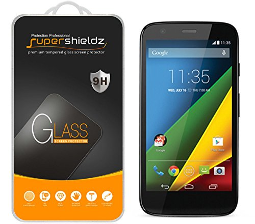 [2-Pack] Supershieldz for Moto G (1st Gen) Tempered Glass Screen Protector, Anti-Scratch, Anti-Fingerprint, Bubble Free, Lifetime Replacement Warranty