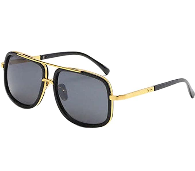 Amazon.com: Men Luxury Sunglasses Gold Frame Black Lens ...
