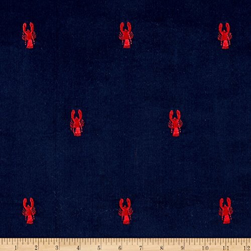 Kaufman Embroidered Corduroy 21 Wale Candy Crawfish Navy ...