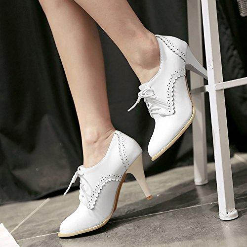 MissSaSa Damen High-heel Pumps mit Schnürsenkel süß und klassisch Pointed Toe Schnürhalbschuhe Weiß