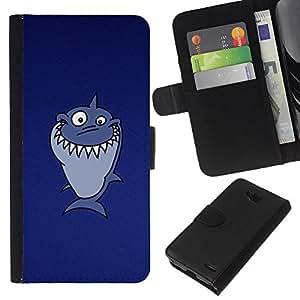 KLONGSHOP // Tirón de la caja Cartera de cuero con ranuras para tarjetas - Divertido Troll Lol Tiburón - LG OPTIMUS L90 //