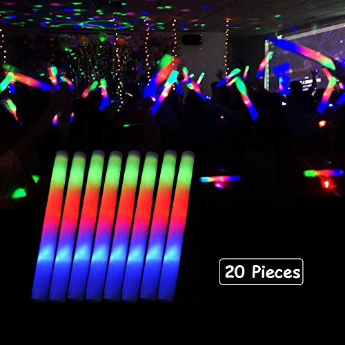 Blu7ive 20 Pack LED Foam Sticks Multicolor Changing 3 Modes Flashing Glow Stick Party Supplies Light Baton Wands for Wedding, Festivals, Raves, Birthday, Children Toys]()