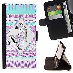 For Samsung Galaxy J1 J100 Case , Púrpura del unicornio místico Niña Linda- la tarjeta de Crédito Slots PU Funda de cuero Monedero caso cubierta de piel