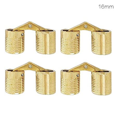 Copper Bucket Hinge Recessed Cabinet Recessed Hidden Brass Hinge Bracket for Furniture(4PCS 8/10/12/14/16mm) YASMEEN