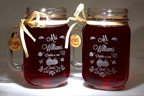 Font Charm (Mr and Mrs Mason Jars Fall Pumpkin Art with Wooden Charms Choice of Fonts and Handle Directions)