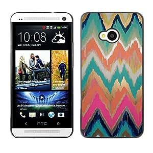 For HTC One M7 Case , Gold Paint Watercolor Pink Pattern - Diseño Patrón Teléfono Caso Cubierta Case Bumper Duro Protección Case Cover Funda