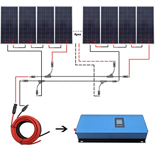 1800W Home Grid Tie Solar Kit 12pcs 150W Solar Panel & 2000W Power Inverter Charging AC 110V