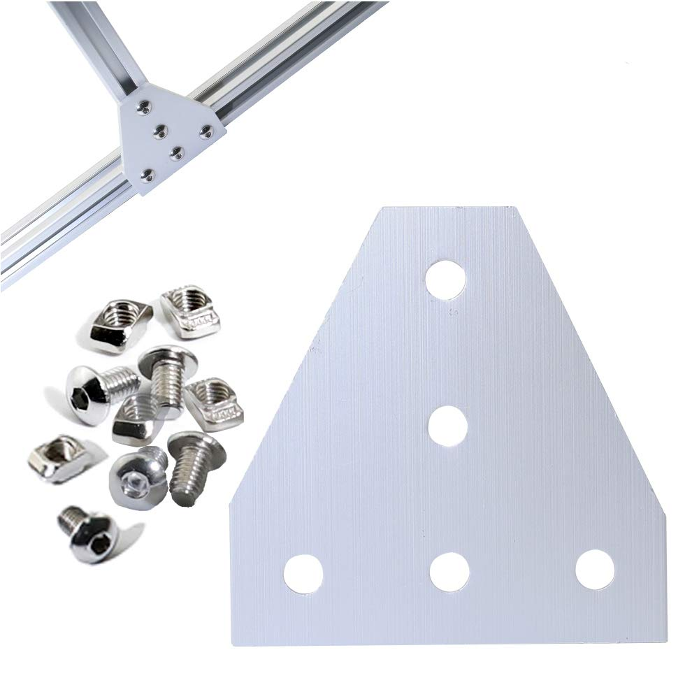 Boeray 4 Pack T-Slot T Shape Joining Plate Bracket Kit with 20pcs M8x16 Hex Screw and 20pcs T nut, for 4040 Aluminum Profile by boeray