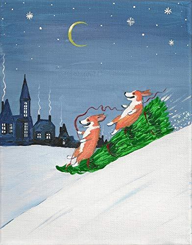 Pembroke Welsh Corgi Christmas Tree - 11X14 PRINT OF PAINTING DOG ART CRESCENT MOON RYTA PEMBROKE WELSH CORGI CHRISTMAS TREE WINTER NIGHT DOG ART