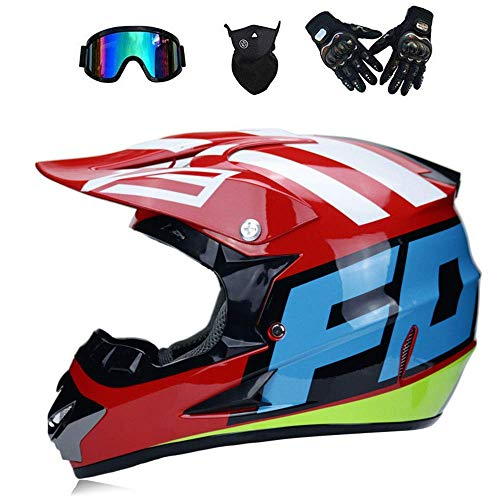 MX Adult Motorbike Full Face Helme Motorcycle Road Race ATV Crash Helmet Off-Road Motorbike Karting Motocross Helmets Included Mask Gloves Goggles (RED, L)