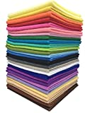Misscrafts 28pcs 8'' x 12'' (20cm x 30cm) 1.4mm Thick Soft Felt Nonwoven Fabric Sheet Pack DIY Craft Patchwork Sewing Square Assorted Colors with Thread Bag