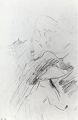 1890 Jeune Fille Dans Le Jardin De Mezy Dessin Crayon De