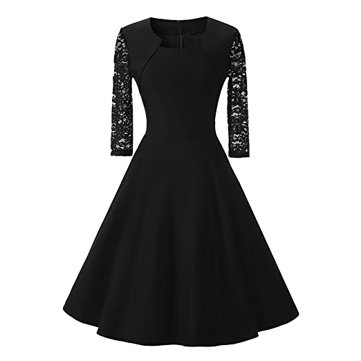 be15a3a359c6 Womens Dresses Sexy Solid Vintage Lace O Neck Three Quarter Sleeve Wedding  Cocktail Party Eveing Dress Elegant at Amazon Women's Clothing store: