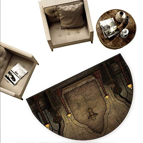 Gothic Half Round Door mats Fantasy Scene with Old Fashioned Wooden Torch and Skull Candlesticks in Dark Spooky Room Bathroom Mat H 55.1