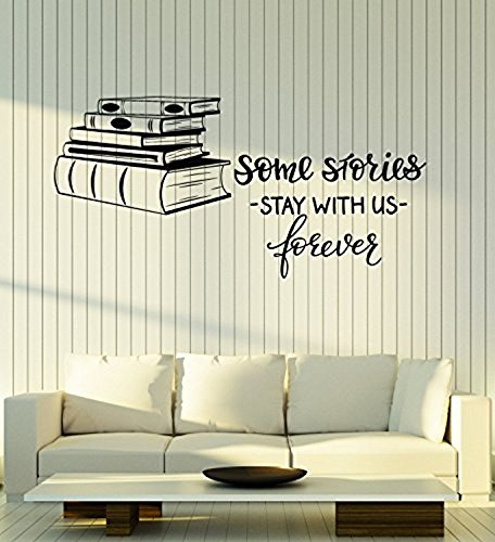 (Amazing Home Decor-Large Vinyl Wall Decal Books Shop Quote Library Reading Room Decor Art Stickers Mural 091Made in The USA)