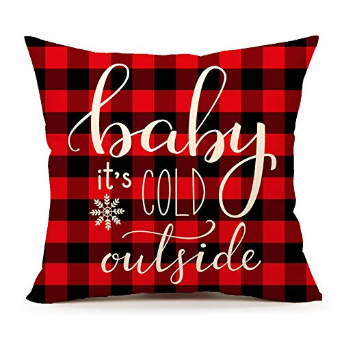 4TH Emotion Baby Its Cold Outside Christmas Snowflake Throw Pillow Cover Red Black Plaids Cushion Case Sofa Couch 18 x 18 Inch Cotton Linen