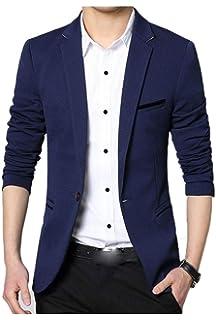 Sanke Herren Blazer Jacke Slim Fit Lässig Single One Button Premium  Leichter Blazer Mantel d8a5f90a5b