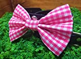 Pink Gingham Checkered Pet Bow Tie