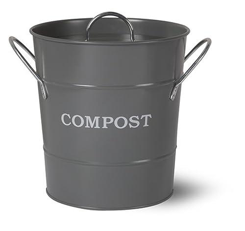 metal kitchen compost caddy charcoal grey colour composting guide composting bin for food. Black Bedroom Furniture Sets. Home Design Ideas