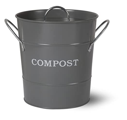 metal kitchen compost caddy charcoal grey colour u0026 composting guide composting bin for