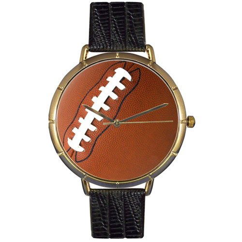 Whimsical Watches Men's N0840017 Football Lover Black Leather And Goldtone Photo Watch