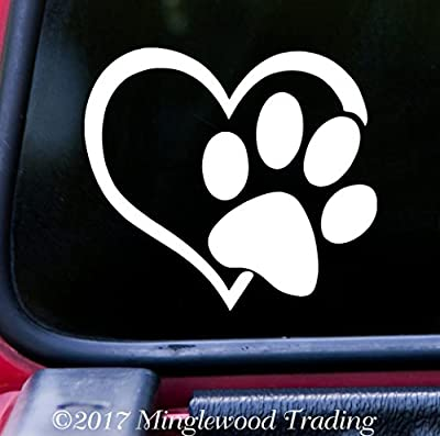 "HEART with PAW PRINT 5"" x 4.5"" WHITE Vinyl Decal Sticker - Love Dog Puppy Cat Kitten"