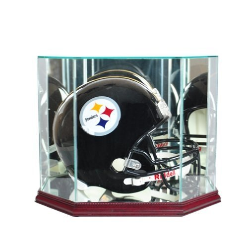 Full Size Football Helmet Display Case - Glass Top with Octagon Cherry Base - Made In America