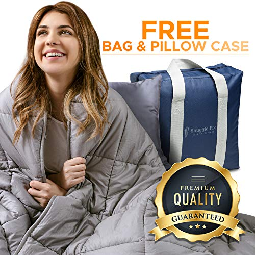 Snuggle Pro Weighted Blanket Adult - 20 lbs Heavy Blanket for Sleeping, 60'x80' Queen Size - Weighted Calming Blanket, Premium Cotton - Cooling Weighted Comforter - Natural Calm Sensory Blanket