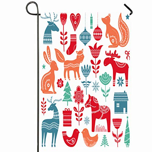 Ahawoso Outdoor Garden Flag 12x18 Inches Happy Red Sweden Christmas Scandinavian Reindeer Swedish Cute Holiday Moose Nordic Design Seasonal Home Decorative House Yard - Holiday Moose