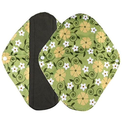 DZT1968 1pc women Reusable Washable Bamboo Cloth Washable Menstrual Pad Mama Sanitary Towel Pad (M, green)