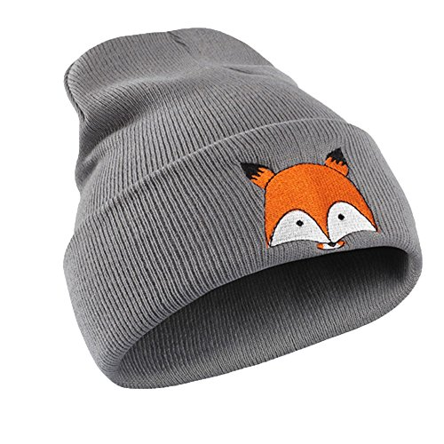 LEXUPA Embroidery Pattern Hat Unisex Warm Hat Knitted Cap Hats Warm Cap Soft Cap GY(One Size,Gray) ()