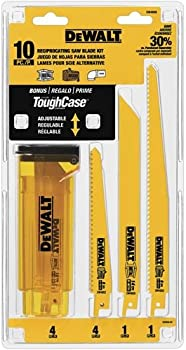 Dewalt 10-Piece Bi-Metal Reciprocating Saw Blade Set with Case