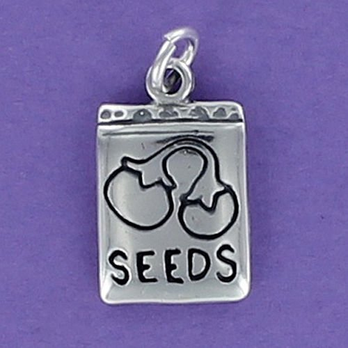 Seed Packet Charm Sterling Silver 925 for Bracelet Plant Garden Vegetable Water Jewelry Making Supply, Pendant, Charms, Bracelet, DIY Crafting by Wholesale Charms