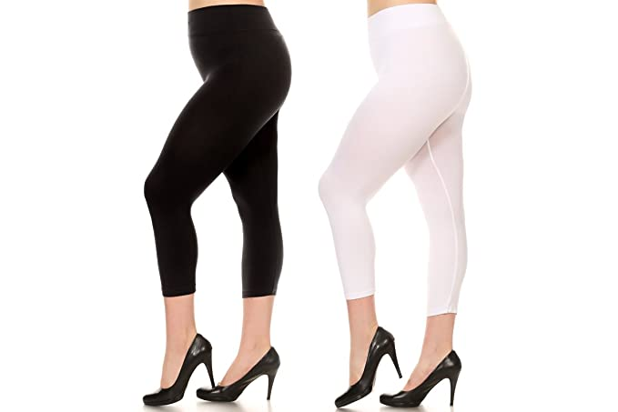 80d5bf6886c1e ICONOFLASH Women's Solid Color Seamless Capri Leggings (One Size, 2-pack;  Black