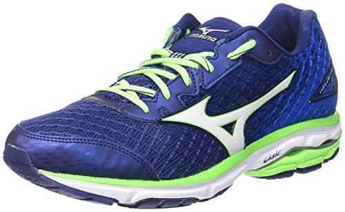 Mizuno Wave Rider 19, Zapatillas de running para hombre,  azul (twilight blue/silver/green gecko),  40.5 EU