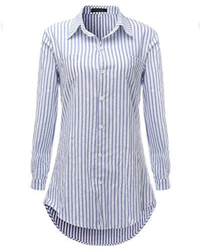 Auxo Camisas Blancas Algodón Mujer Vestidos Cortos Camiseta Manga Larga Blusas Rayas azul y blanco