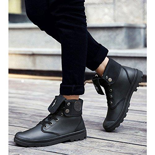 Hombres al aire libre botas altas botas de combate multifunción Desierto de excursión los zapatos Negro