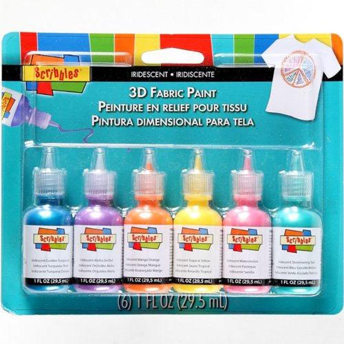 SCRIBBLES 18536 Dimensional Fabric Paint, Iridescent, 6-Pack, 1 oz