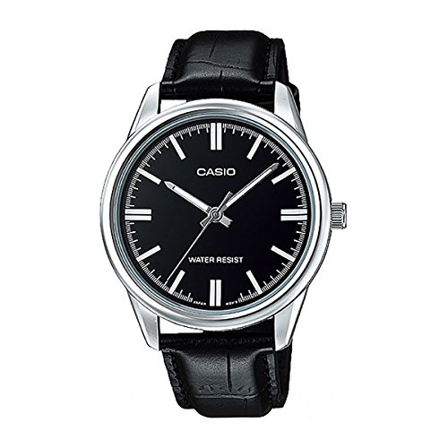 Black Leather Analog (Casio MTP-V005L-1A Men's Black Leather Dress Watch Black Dial)