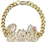 GWOOD Barbie ID Style Bracelet Gold Color With Pink Lips