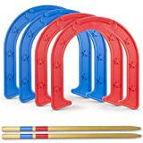 GoSports Giant Horseshoes Set | Made from Durable Plastic with Wooden Stakes